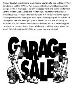 Preston County Senior Citizens, Inc. Garage Sale