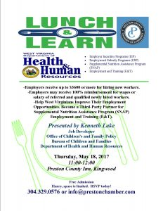 Lunch and Learn with Kenneth Lake, Job Developer WV DHHR @ Preston County Inn | Kingwood | West Virginia | United States
