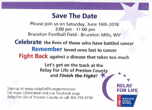 SAVE THE DATE-RELAY FOR LIFE @ Bruceton Football Field | Bruceton Mills | West Virginia | United States